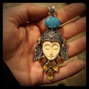 Opalite and Citrine Goddess Face Pendant. New